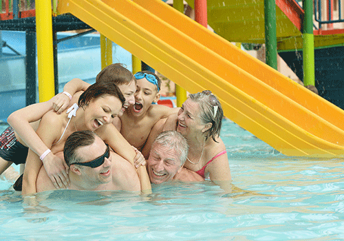 Family in a pool